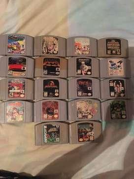 Nintendo 64 con 18 casetes un control y sus cables
