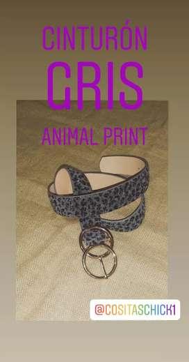 Cinturón Animal Print gris