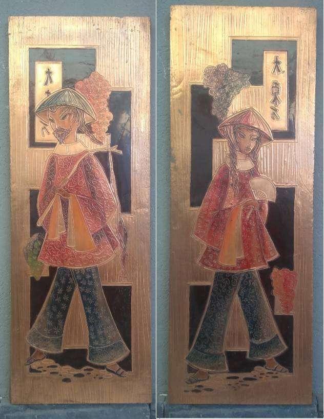2 cuadros de cobre repujado oriental 0