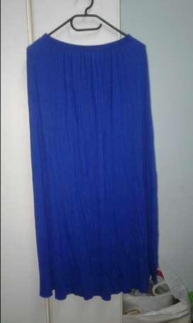 Pollera Larga Azul Talle M con Elastico