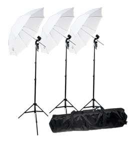 Kit Iluminación X3 Con Sombrilla Para Estudio Fotográfico