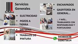 Servicios de Electricista, Pozos a Tierra, Drywall, Pintor, Enchapados, Gasfitero y más