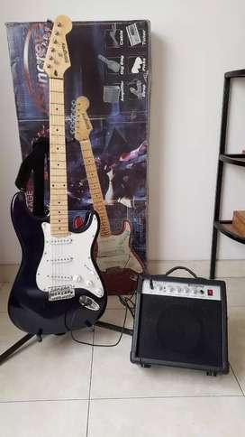 Guitarra eléctrica con amplificador + estuche y afinador