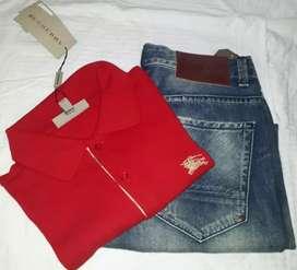 Polo CH y Burberry talla S rojo ,más Jean penguin original talla 30