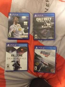 Vendo 4 juegos ,varia el precio segun el juego