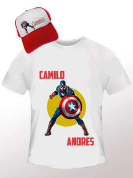 Combo Camiseta Cachucha personalizada Para Niño Capitan America