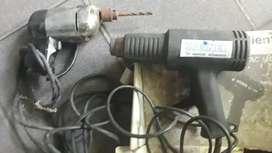 Taladro y pistola de calor