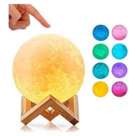 Lampara Luna 3d Colores Con Base Madera 8 Colores