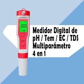 Medidor Digital De Ph Ec Tds Temperatura 4 En 1 Ph Metro Ph