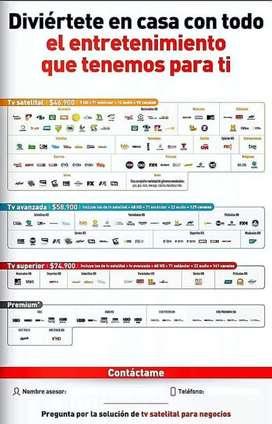Servicio de televisión satelital con claro para zonas Rurales e internet inalámbrico el internet va sujeto a la red 4G