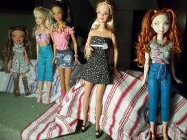 Muñecas Barbie 4 y 1 Bratz Usadas, Estado físico 9/10