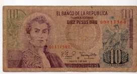 BILLETE  DE COLOMBIA DE 10  PESOS REPOSICION
