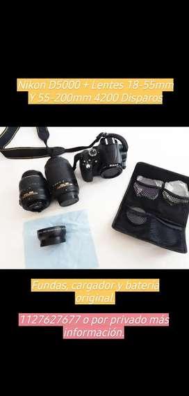 Nikon D5000 + 2 lentes + accesorios originales ¡4200 disparos!