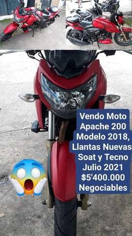Vendo Moto APACHE200 en Excelente estado.