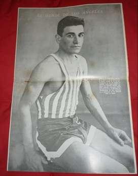 ANTIGUA LAMINA DE REVISTA EL GRAFICO JUAN CARLOS ZABALA GANADOR DE LA MARATON JUEGOS OLIMPICOS 1932
