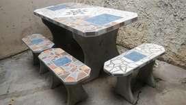 Mesa de Cemento Premoldeada con 6 Bancos
