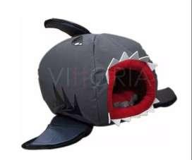 Casa Perro O Gato Tiburón 35x35cm En Lona Acolchada Resisten