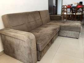 Sofa cama en L ajustable