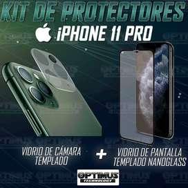 Kit para celular iPhone 11 Pro Vidrio Templado de cámara + Cristal Nanoglass protector de pantalla