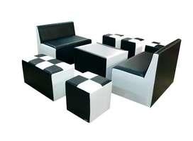 puff banquetas , salas lounge sillones mesas de centro juegos de sala