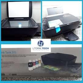 Impresora HP 315. Multifunción. Sistema continuo de inyección de tinta.