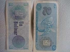 Billetes de 1 y 2 bolívares