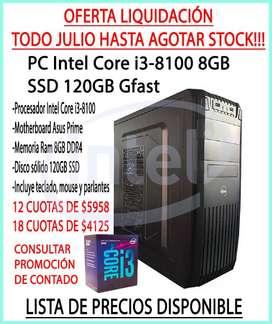 OFERTA!!!NUEVA PC INTEL I3 8GB RAM SSD HASTA EN 18 CUOTAS!!!