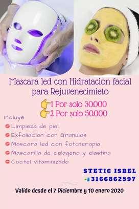 Facial de Rejuvenciemiento con Mascara Led fototerapia