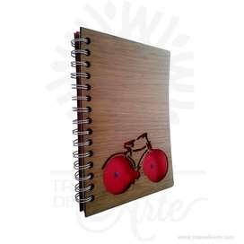 Cuaderno madera bicicleta para personalizar - Precio COP