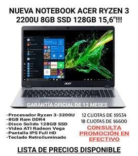 NotebookNUEVA NOTEBOOK Acer Ryzen 3-3200U 8GB SSD 128GB 15,6″ W10!!!