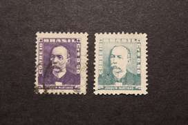 2 ESTAMPILLAS BRASIL, 1954, JOAQUÍN MURTHINO, USADAS