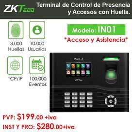 Control de Acceso ZKTeco IN01 - Lectora de Huella Digital + Pin + Proximidad.