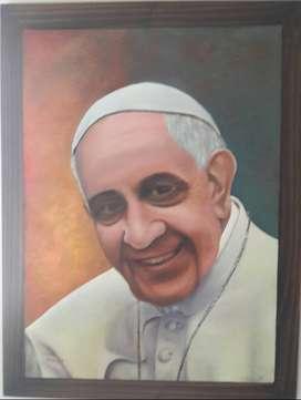 Pintura original al oleo del Papa Francisco