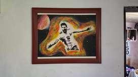 Messi Pinturas hecha a mano (lista para enmarcar)