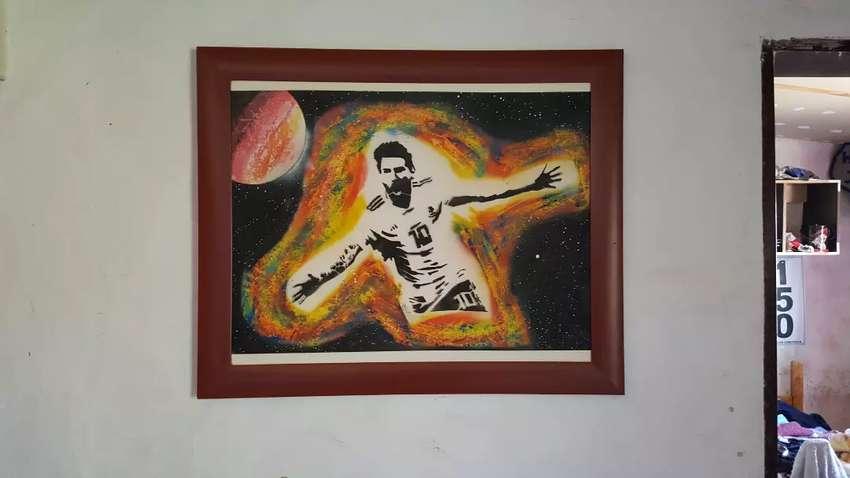 Messi Pinturas hecha a mano (lista para enmarcar) 0