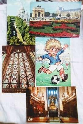 5 Tarjetas Postales de Francia década 70 y 80