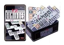Domino doble 12 o 12 cenas en caja metálica
