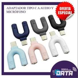 ADAPTADOR TIPO C A AUDIO Y MICRÓFONO