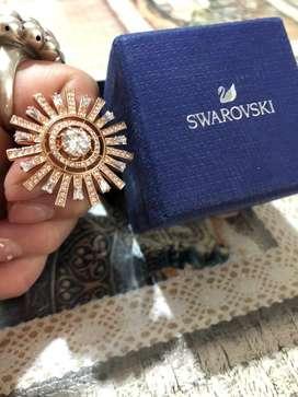 Anillo swarovski de baño de oro rosado piedras italianas