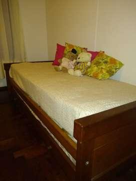 Vendo Cama de Algarrobo macizo con carro cama.