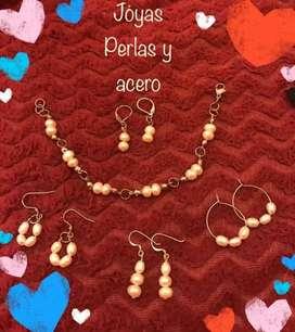 Set de joyas de Acero con Perla Natural y Piedras Turquesa y Malaquita