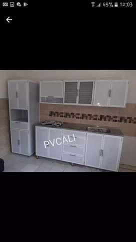 Gabinetes y Pollo de cocina en Pvc y aluminio