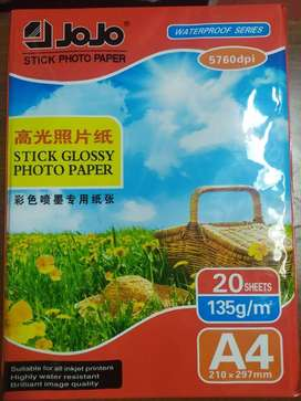 Papel fotográfico adhesivo A4 X 20