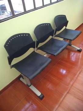 silla 3 puestos para oficina  tandem base metalica
