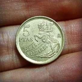 Moneda de España de 5 Pesetas 1997 - conmemorativa Islas Baleares