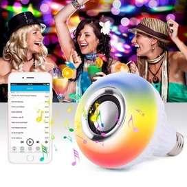 Bombillo led rgb 12w Bluetooth parlante musica control remoto inalambrico supli