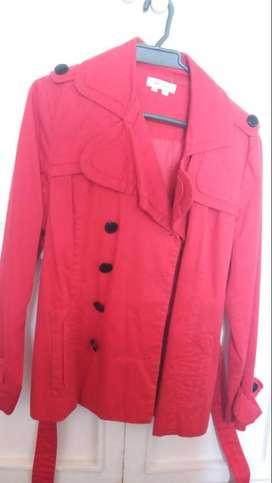 chaqueta roja tipo gabán para mujer talla L marca appraisal