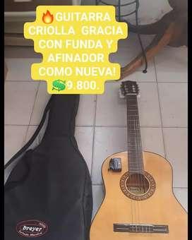 GUITARRA CRIOLLA GRACIA CON AFINADOR!