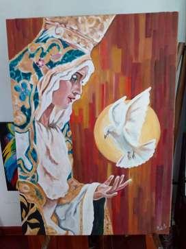 Cuadro Virgen, óleo sobre lienzo 70x50cms.