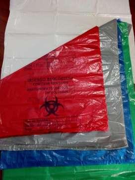bolsa plastica de colores marcadas hospitalaria X 100 unidades